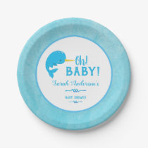 Blue Narwhal Baby Shower Paper Plate