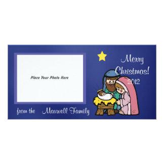 Blue Nativity Christmas Photo Card
