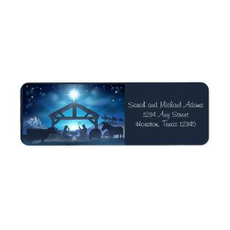 Blue Nativity Religious Christmas Return Address Label