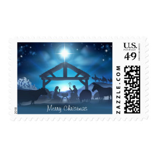 Blue Nativity Religious Postage Stamp