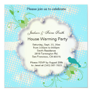 Blue Nature Design Party Template Card