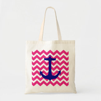 Blue Nautical Anchor and Pink Chevron Tote Bag