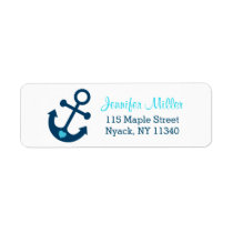 Blue Nautical Anchor Baby Shower Address Label