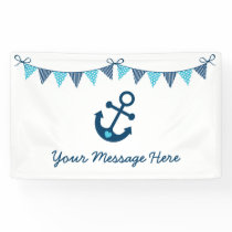 Blue Nautical Anchor Baby Shower Banner