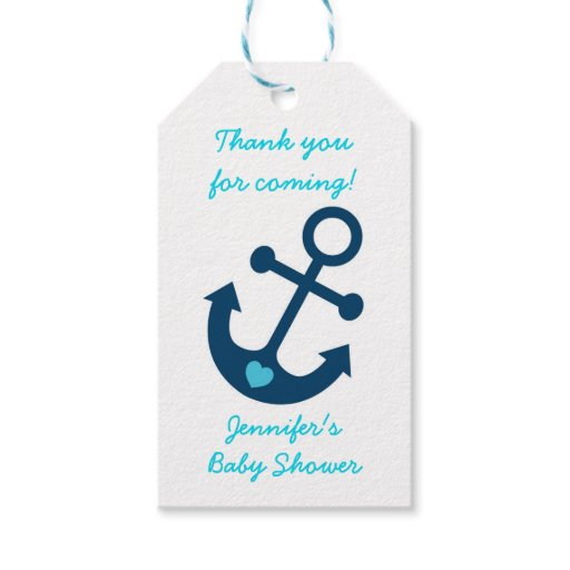 Blue Nautical Anchor Baby Shower Gift Tags