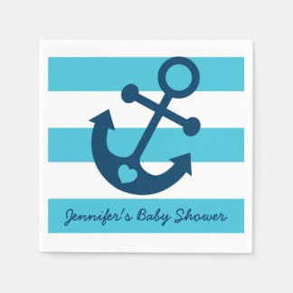 Blue Nautical Anchor Baby Shower Paper Napkin