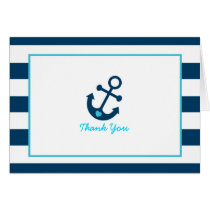 Blue Nautical Anchor Baby Shower Thank You Card