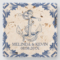 Blue Nautical Anchor & Blue Floral Frame Frame Stone Coaster