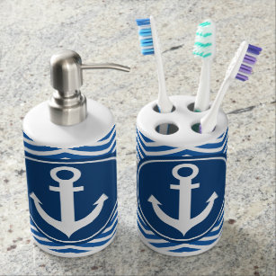 Blue Nautical Anchor Chevron Bathroom Set Navy Bath Accessory Sets  Zazzle