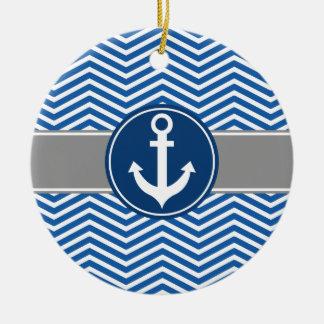 Blue Nautical Anchor Chevron Ceramic Ornament