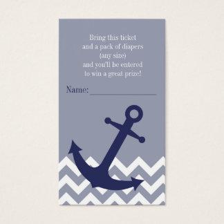 Blue Nautical Anchor Chevron Diaper Raffle Ticket