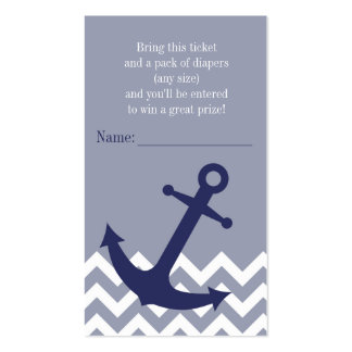 Blue Nautical Anchor Chevron Diaper Raffle Ticket Double-Sided Standard Business Cards (Pack Of 100)