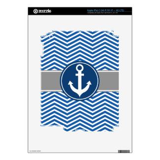 Blue Nautical Anchor Chevron iPad 3 Skin