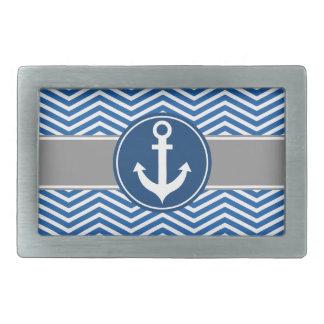 Blue Nautical Anchor Chevron Rectangular Belt Buckle