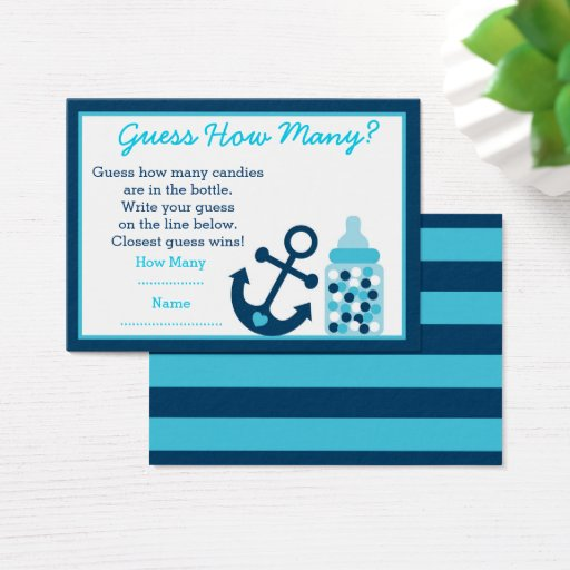 Blue Nautical Anchor Guess How Many Game Business Card