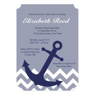 Blue Nautical Anchor on Chevron Ocean Baby Shower 5x7 Paper Invitation Card