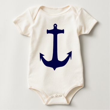 Beach Themed Blue Nautical anchor pattern Baby Bodysuit