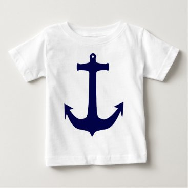 Beach Themed Blue Nautical anchor pattern Baby T-Shirt