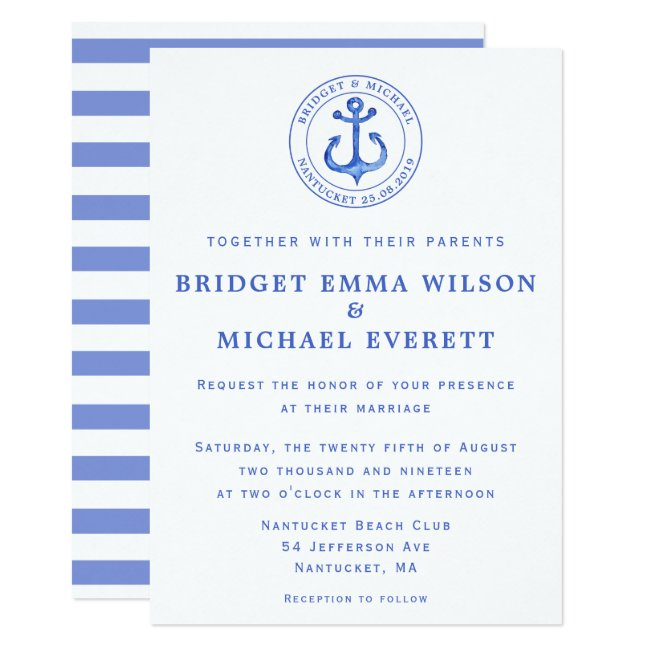 Blue Nautical Anchor Wedding Invitation