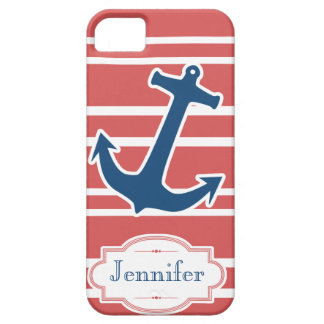 Blue Nautical Anchor with Red Stripes iPhone Case iPhone 5 Cover