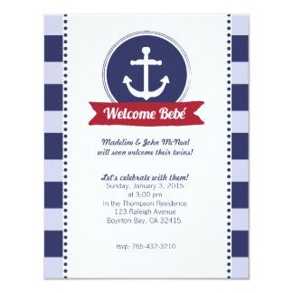blue nautical BABY SHOWER custom invitation