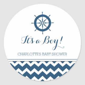 Blue Nautical Baby Shower Favor Stickers