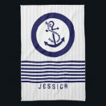 "Blue Nautical Boat Anchor And Stripes Hand Towel<br><div class=""desc"">Elegant navy blue nautical boat anchor with navy blue stripes. Custom and optional monogram. White and blue circles for the white anchor.</div>"
