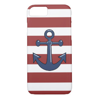 Blue Nautical Boat Ship Anchor Red White Stripes iPhone 7 Case