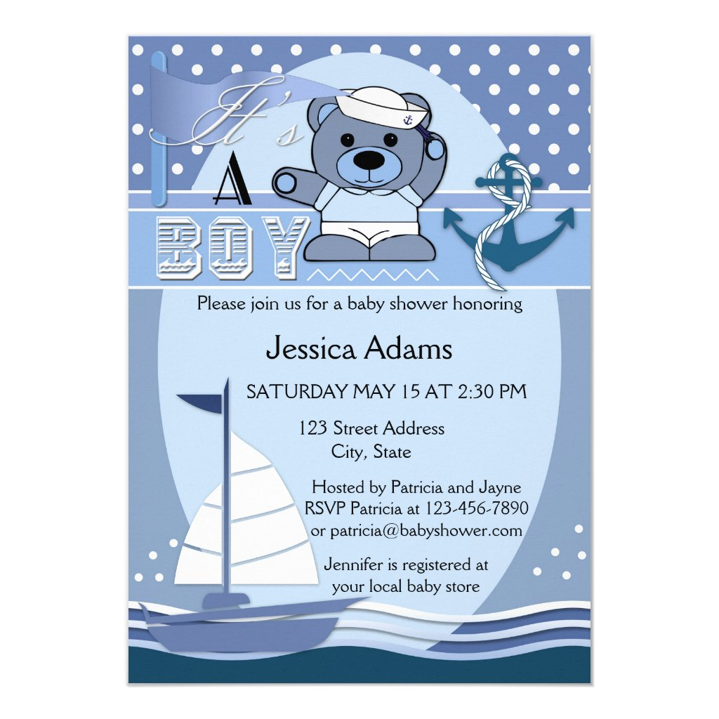 Blue Nautical Boy Baby Shower Invitation