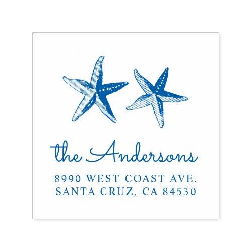 Blue Nautical Hand_painted Starfish Return Address Self_inking Stamp