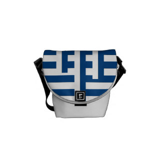 Blue Nautical Mixed Stripe Courier Bag
