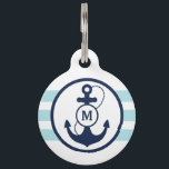 "Blue Nautical Monogram Pet ID Tag<br><div class=""desc"">Navy blue anchor with light blue nautical stripes and monogram,  add your pet&#39;s name and your phone number on the back.</div>"