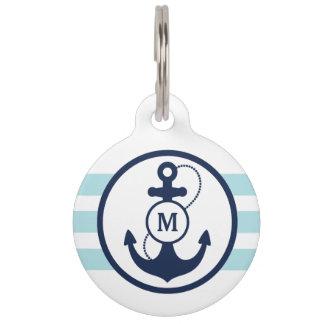 Blue Nautical Monogram Pet ID Tag