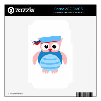 Blue Nautical Owl iPhone 3G Decal