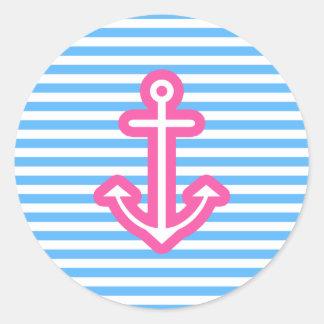 Blue Nautical Pink Anchor Classic Round Sticker