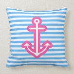 Blue Nautical Pink Anchor Pillow