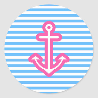 Blue Nautical Pink Anchor Sticker