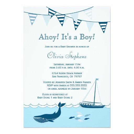 Blue nautical sailboat baby boy shower invitation