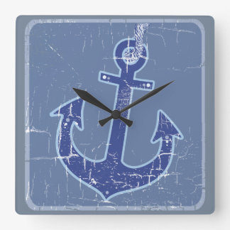 blue nautical sailor anchor wallclocks
