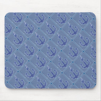 blue nautical sailor anchor mouse pad