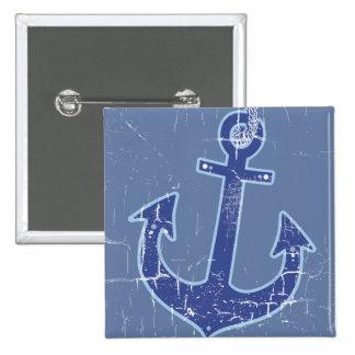 blue nautical sailor anchor pinback button