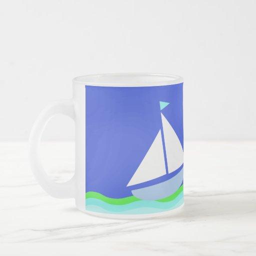 Blue nautical sea coffee mug