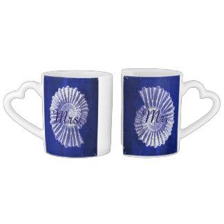 blue nautical seashells coastal wedding mr and mrs coffee mug set