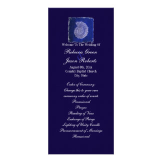 blue nautical seashells coastal wedding programs
