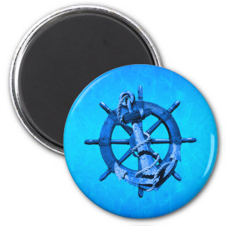 Blue Nautical Ships Wheel And Anchor 2 Inch Round Magnet