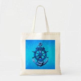 Blue Nautical Ships Wheel And Anchor Tote Bag