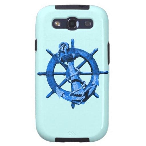 Blue Nautical Ships Wheel And Anchor Galaxy S3 Case