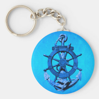 Blue Nautical Ships Wheel And Anchor Keychain