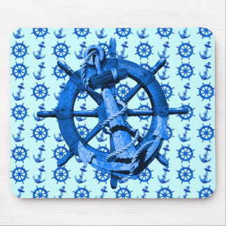 Blue Nautical Ships Wheel And Anchor Mouse Pad