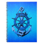 Blue Nautical Ships Wheel And Anchor Notebooks